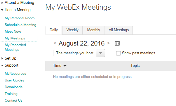 Presenting a Webex session (Accessibility view)