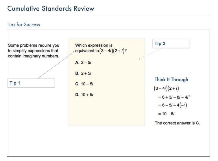 Algebra 2: Common Core Readiness Assessment 3 Review Stacks