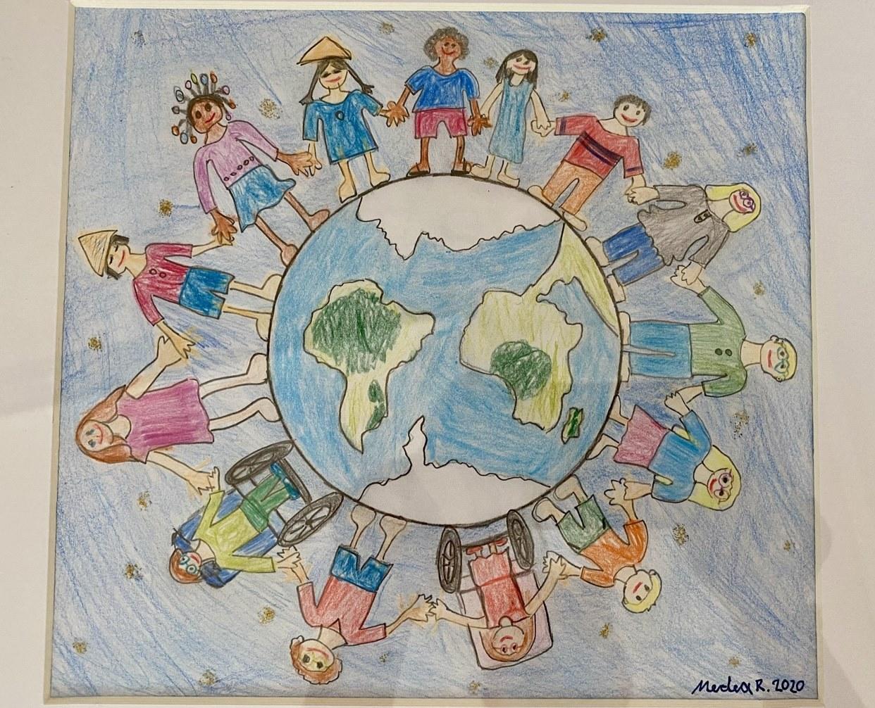 Gemaltes Bild, viele Kinder stehen auf der Erdkugel und reichen sich die Hand.