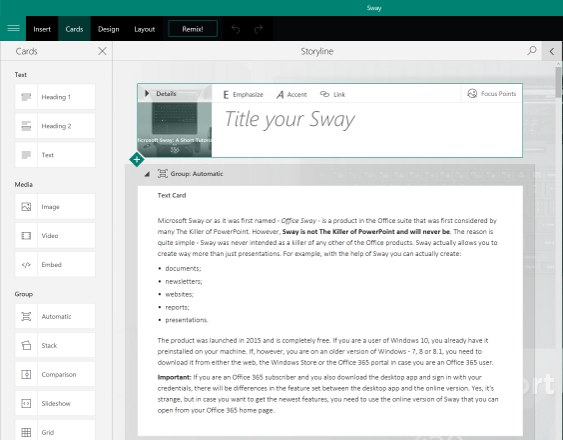 Microsoft Sway: Short Tutorial by 356labs
