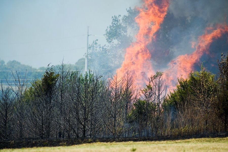 Operation100news: Large brush fire in west Lawrence