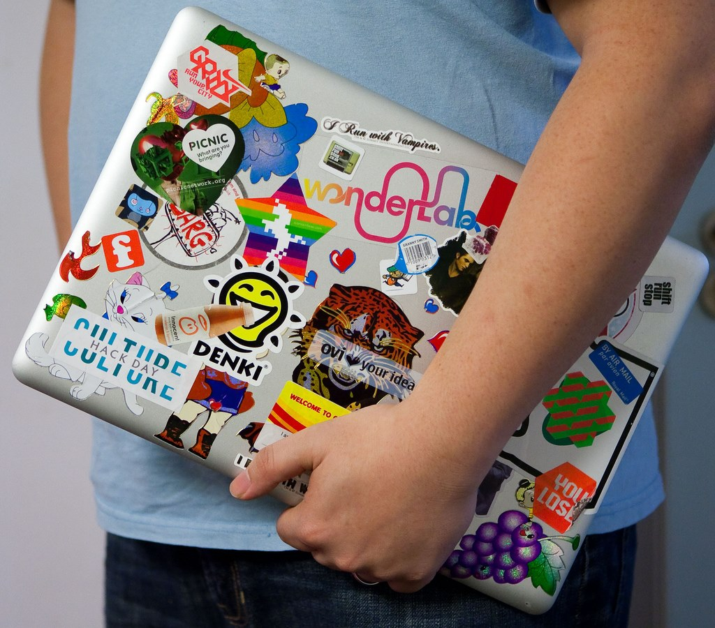 A true geek laptop needs stickers! A Culture Hack sticker ...