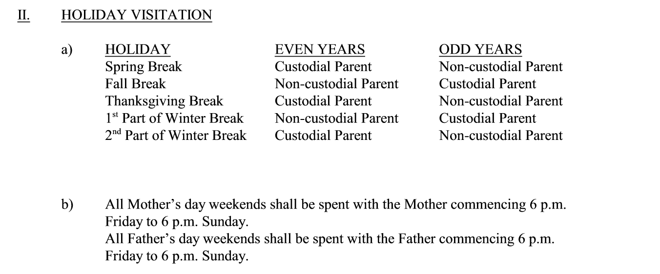 Holiday Schedule (Moderate)